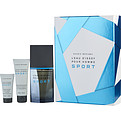 L'Eau d'Issey Pour Homme Sport Edt Spray 3.4 oz & Aftershave Balm 1 oz & All Over Shower Gel 2.5 oz for men by Issey Miyake